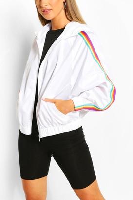 boohoo Hooded Rainbow Stripe Windbreaker