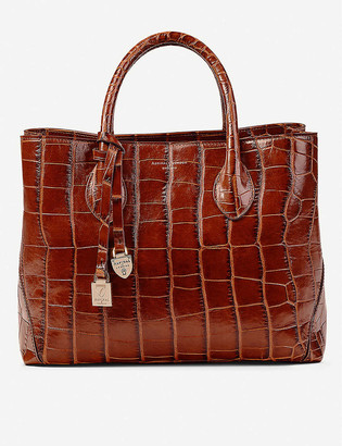Aspinal of London London midi crocodile-embossed patent leather tote bag