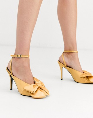 Asos Design DESIGN Poetry pointed high heel mules with bow in yellow satin