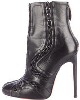 Alaia Leather Whipstitched Ankle Boots