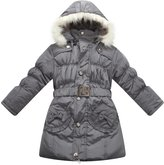 Richie House Girls' Padded Winter Jacket with Pockets, Belt and Fur Hoo RH0785-D
