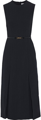 Victoria Beckham Belted Pleated Crepe Midi Dress