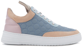 Filling Pieces Women's Quilted Low Top Trainers Moon Pink/Blue