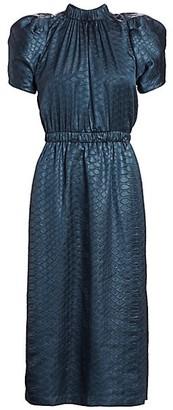 Sea Simone Embossed Puff-Sleeve Midi Dress