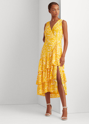 Ralph Lauren Paisley Tiered Crepe Dress