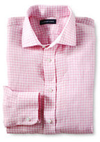 Classic Men's Long Sleeve Traditional Irish Linen Shirt-Palm Pink Glen Plaid