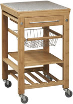 Linon Small Space Bamboo Rolling Kitchen Cart with Granite Top