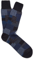 Anonymous Ism - Patchwork Jacquard-knit Socks - Navy