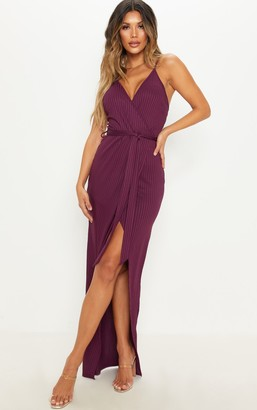Panache Plum Ribbed Wrap Maxi Dress