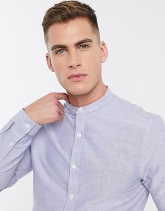 New Look long sleeve grandad oxford shirt in light blue