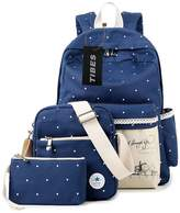 Tibes Casual Canvas School Travel Backpack+Shoulder Bag+Purse for Teen Girls