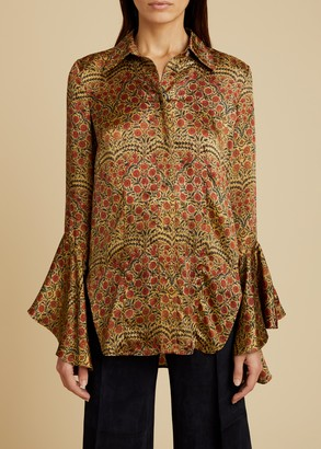 KHAITE The Lottie Top in Red Paisley
