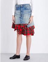 Junya Watanabe Tartan-underlayer denim skirt