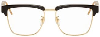 Gucci Black Square Metal and Acetate Glasses