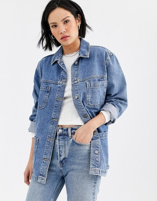 Topshop shacket in mid blue