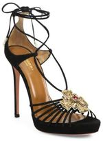 Aquazzura Empress Embellished Suede Lace-Up Sandals