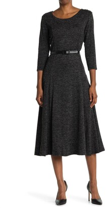 Nina Leonard Heathered Belted Midi Dress