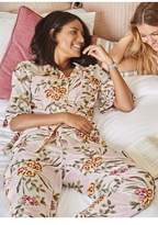 Womens Next Pansy Print Button Through Pyjamas - Pink