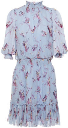 Joie Shima Shirred Printed Silk-crepon Mini Dress