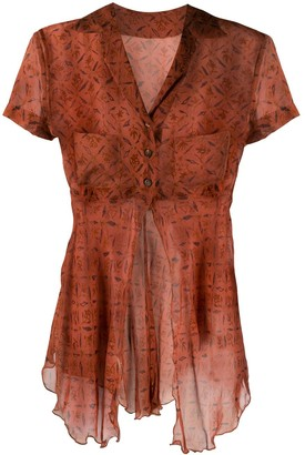 Romeo Gigli Pre Owned 1998 Front-Slit Printed Sheer Blouse