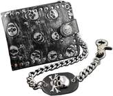 vogueteen Fashion Rock Punk Metal Skull Money Black Men's Leather Wallet With A Chain