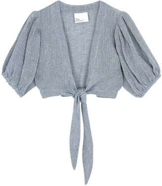 Lisa Marie Fernandez Pouf blue cropped linen-blend top