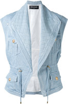Balmain quilted denim gilet - women - Cotton/Spandex/Elastane/Viscose - 40