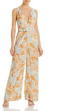 Nicholas Carla Belted Printed Linen Jumpsuit