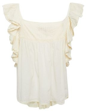 Vanessa Bruno Lilly Crochet-trimmed Ruffled Pintucked Cotton-mousseline Blouse