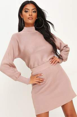 I SAW IT FIRST HIGH NECK KNITTED TOP & SKIRT SET