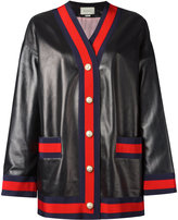 Gucci Web trim cardigan jacket - women - Silk/Cotton/Leather/Viscose - 40
