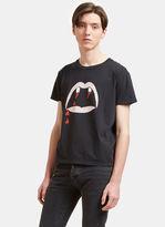 Saint Laurent Men's Blood Luster Mouth Print Crew Neck T-shirt In Black