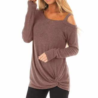 555 Women's Kink T-Shirts Round Neck Long Sleeve Loose Twisted Casual Sweatshirt Stretch Blouse Tunic Tops S-2XL