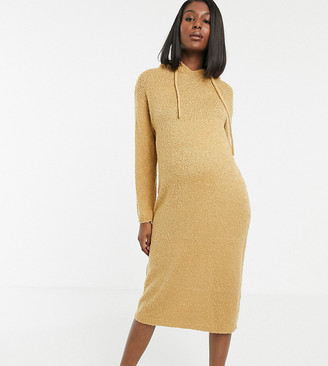 Asos DESIGN Maternity hooded midi dress in borg yarn-Stone