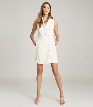 Reiss ANTOINE SLEEVELESS TUXEDO DRESS White
