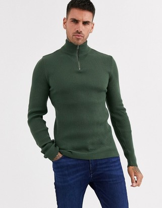 ASOS DESIGN Muscle fit wide ribbed half zip jumper in Khaki
