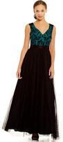 Aidan Mattox MD1E200234 Embroidered Bodice Mesh Dress