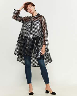 Gracia Houndstooth Plastic Rain Coat
