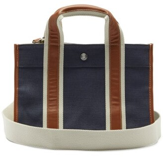 Rue De Verneuil - Traveller Small Leather-trim Linen Tote Bag - Navy Multi