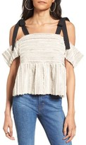 Moon River Women's Fringe Cotton Cold Shoulder Top