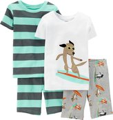 Carter's Little Boys' 4 Piece Print Short PJ Set (Toddler/Kid) - Surfer Dog