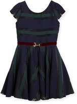 Zoë Ltd Ophelia Organza Shadow Stripe Dress w/ Belt, Size 2-6X