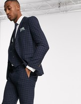 Harry Brown slim fit navy tonal grid check suit jacket