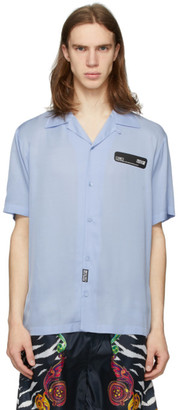 Versace Blue Rubber Logo Short Sleeve Shirt