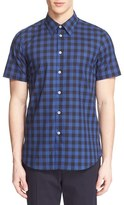 Paul Smith Men's Extra Trim Fit Plaid Short Sleeve Sport Shirt