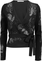 Diane von Furstenberg Studded wool-blend wrap cardigan