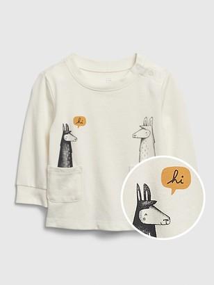 Gap Baby Organic Two Pocket Llama Shirt
