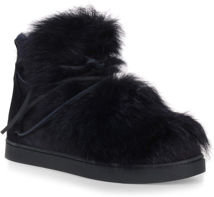 Gianvito Rossi Inuit navy suede and shearling sneaker