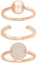 Swarovski Ginger Crystal & 18K Rose Gold-Plated Ring- Set of 3