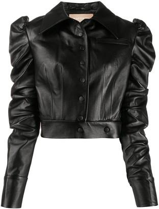 MATÉRIEL Cropped Faux-Leather Jacket